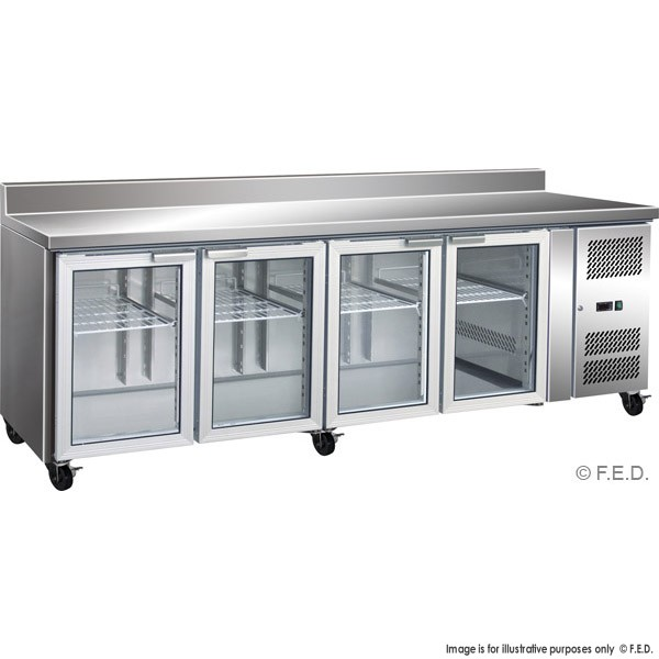gn4200fegs 4 glass door gastronorm bench fridge with splashback