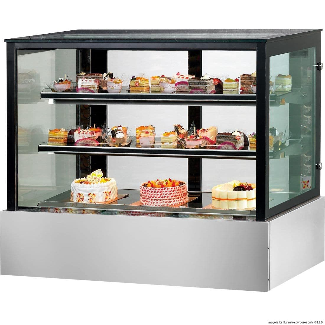 ssu90 2xb black trim square glass cake display 2 shelves