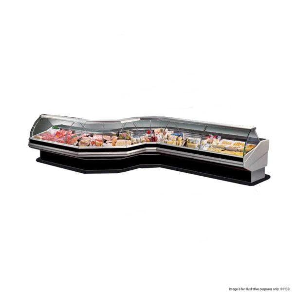 PAN1500 - Curved front glass deli display -