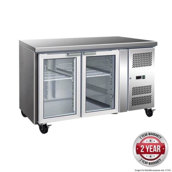GN2100TNG - 2 Glass Door Gastronorm Bench Fridge -