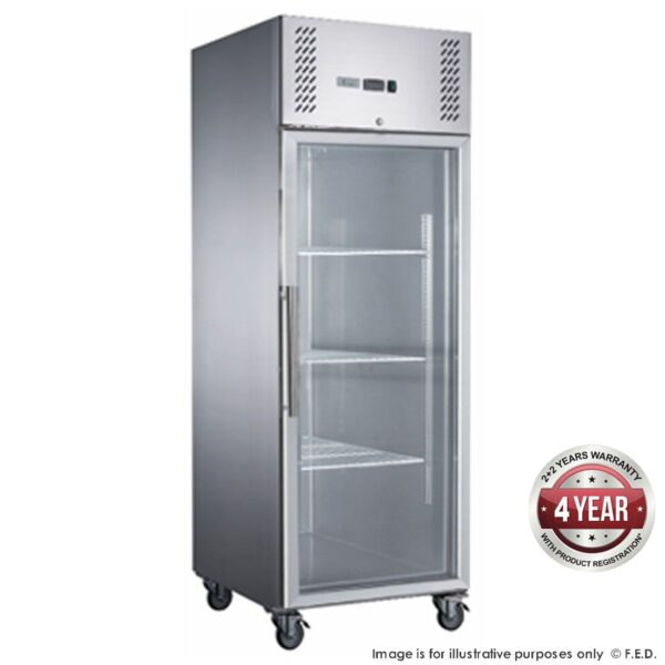 FED-X S/S Full Glass Door Upright Fridge - XURC600G1V -